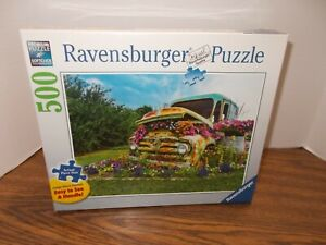 """Ravensburger Puzzle 500 pc Large format Flower Truck 27""""x20"""" NEW SEALED"""
