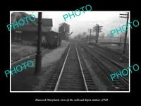 OLD LARGE HISTORIC PHOTO OF HANCOCK MARYLAND, THE RAILROAD DEPOT STATION c1940