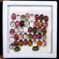 Natural Tourmaline 42 Pcs 7mm/5mm Wholesale Lot Multi Color Cabochon Gemstones