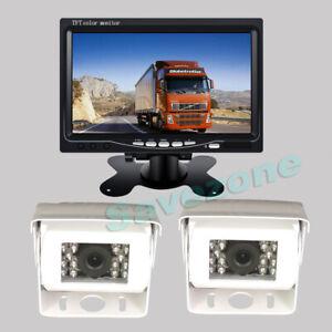 """2 x Caméra de recul Blanc CCD Arrière vision nocturne 12V-24V+ 7"""" Ecran LCD 10m"""