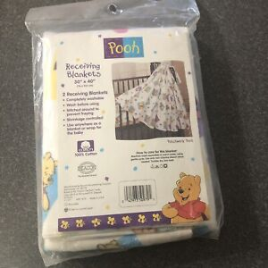 """Vintage Winnie the Pooh Baby Receiving Blankets 30x42"""" 2 Count New in Package"""