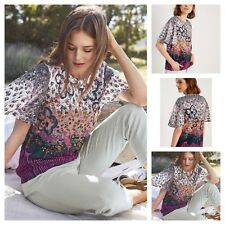 NEW WHITE STUFF ESSENCE FLORAL TOP TUNIC BLOUSE DAISY FLARED SLEEVE PINK 8 - 18