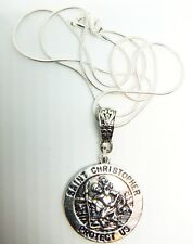 Antique Silver St Christopher On A 24'' Sterling Silver Snake Chain Gift Bag