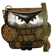 Genuine Leather Messenger Bag, Owl Design, Detachable Shoulder Strap/GreenGray