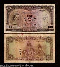 CEYLON 100 RUPEES P53 1952 QUEEN WOMAN CURRENCY MONEY BILL SRI LANKA BANK NOTE
