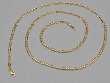 "14K Solid Yellow Gold Figaro Chain Link Necklace 2.87 mm 20"" 6.3 grams"