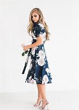 Womens Floral Long Maxi Dress Short Sleeve Evening Party Summer Beach Sundress