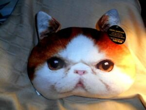 NWT ORANGE TIGER Kitty Cat Plush Pillow Exotic Shorthair Soft Throw Expressions