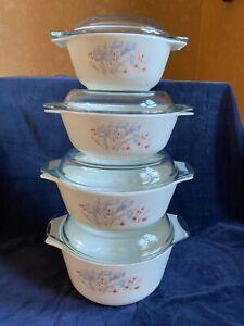 PYREX Iris Bowls Dishes Lids Stacking Nesting Graduated Casserole Serving Set