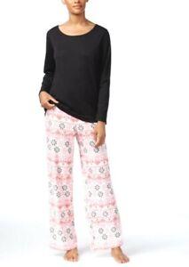 Charter Club Women's Pajama Set Top and Printed Fleece Pants Size 2XL