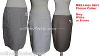New Womens Marks & Spencer Grey Brown White Linen Skirt Size 18 16 14 12 10 8 6