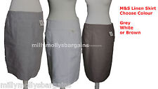 New Marks & Spencer Grey Brown White Linen Skirt Size 18 16 14 12 10 8 6