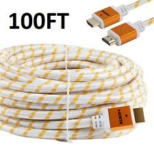 PREMIUM HDMI CABLE 100FT For 3D PS4 HDTV XBOX LCD HD TV 1080P v1.4 White Braided
