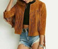 Noora NEW Gorgeous Women Suede Leather Jacket Western Fringe Western Style BS35