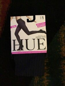Hue Made to Move Double Rib Shaping Navy Tights, Womens Size 1 New