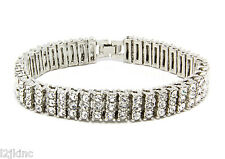 """Men & Lady 3 Row Silver Clear Crystal Iced Out Hip Hop Bling Bracelet 8"""""""