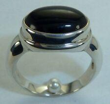 Onyx Cab, Konder #541 Beautiful Sterling Silver Ring Blackk