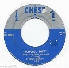 CHUCK BERRY * 45 * School Day * 1957 #3 * USA SILVER TOP CHESS * Books $40.00 #1
