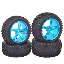 RC 1:10 Off-Road Buggy Car Front&Rear Tyres Tires & Metal Wheel Rim Blue M05B8