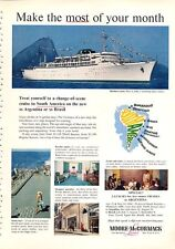 1960 Moore-McCormack Line Cruise Ship SS Brasil & SS Argentina PRINT AD