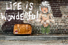 not banksy life is wonderful by andy baker street art print painting A3