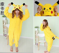 POKEMON COSTUME PIKACHU pajamas/pyjamas/bodysuit Winter sleepwear cosplay romper