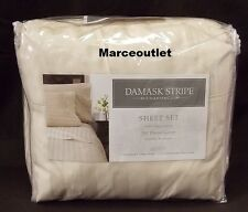 Charter Club 500 Thread Count Damask Stripe QUEEN Sheet Set Natural