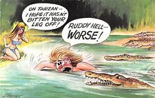 POSTCARD  COMIC   BAMFORTH     Tarzen  Crocs  Bitten  Off  ...