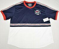 Parish Nation Jersey T-Shirt Men's Logo Taped V-Neck Graphic Tee Navy White P466