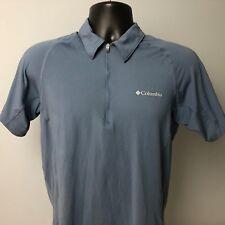 COLUMBIA Omni-Wick Freeze Evap S blue hiking short sleeve polo shirt half zip