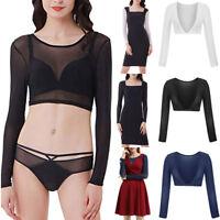 Women Both Side Wear Sheer Plus Size Seamless Arm Shaper Top Mesh Shirt Blouses