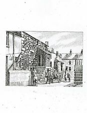CORNISH POST CARD ART CARD BY GEOFFERY HUSBAND FISHERMAN`S COTTAGES