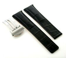 20MM LEATHER BAND STRAP DEPLOYMENT CLASP FOR TAG HEUER CARRERA CV2010 BLACK #3TC
