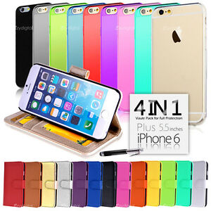 Wallet & Gel 4in1 Accessory Bundle Kit Case Cover For Apple iPhone 6 Plus 5.5""