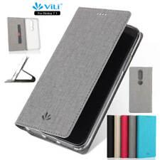 For Nokia 7.1 Magnetic Flip Canvas Leather Card Pocket Slim Case Cover Kickstand