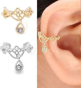 CUTE CRYSTAL EAR CUFF Upper Helix Clip on GOLD OR SILVER PLATED UK SELLER