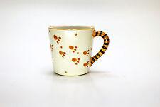 Bengal Tiger Paw Print Coffee mug w/ Cub inside and striped handle Orange&Black