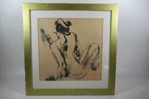 Girl Reclining Gold Framed  Art Chinese black ink Print by Qu LeiLei 17.5 x 17.
