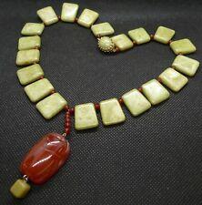 Luxurious Jade & Carnelian Necklace and Pendant, Scarab Totem, New & Handmade