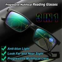 3 in1 Glasses Progressive Multifocal Lens Anti-blue Light Presbyopia Eyeglasses