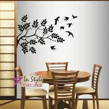 Vinyl Decal Tree Branch with Flying Birds Floral Design Room Wall Sticker 258