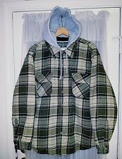 Field & Stream Men's Size XL Green Flannel Quilt Lined Fishing Hoodie Jacket