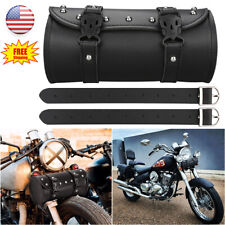 Motorcycle Front Fork Tool Bag Pouch Storage Luggage SaddleBag Leather Handlebar
