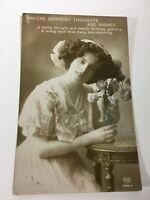 Vintage Postcard Birthday Wish Lady With Flowers    N11