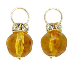 Immitation Amber Earrings Charms 14k Solid Yellow Gold