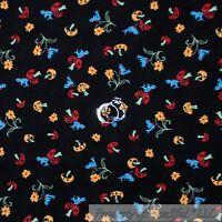 BonEful Fabric FQ Cotton Quilt Black Red Mushroom Blue Bird Yellow Flower Little