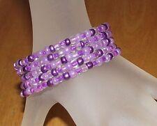 Purple Mix Glass Beaded Wire Wrap / Coil / Bangle Bracelet - USA Made- New Beads