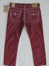 True Religion Big T Straight Micro-Corduroy Pants- Burgundy -Size 38-NWT $249