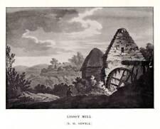 Antica STAMPA INCISIONE Oliver Goldsmith 1906 lissoy Mill Originale litografia