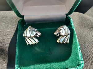 RICK CAMERON STERLING SILVER WOLF HEAD CUFF LINKS